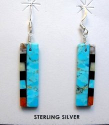 Santo Domingo Turquoise Multi-gem Inlaid Earrings, Mary Tafoya