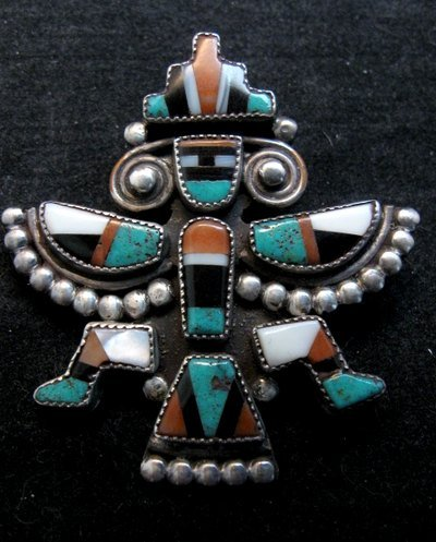 Image 0 of Vintage Native American Zuni Inlaid Knifewing Pin