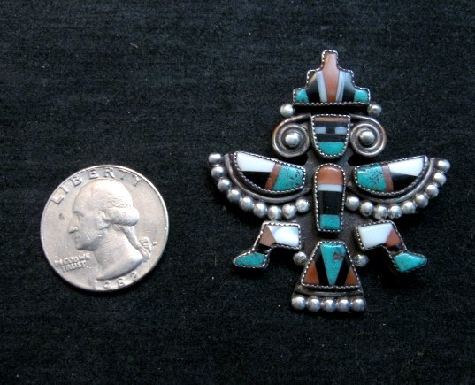 Image 1 of Vintage Native American Zuni Inlaid Knifewing Pin