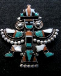 Vintage Native American Zuni Inlaid Knifewing Pin
