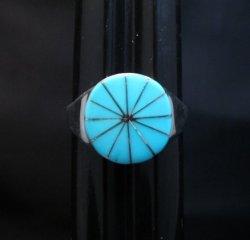 Native American Zuni Round Turquoise Inlay Ring Johnson Laweka Sz13-1/2