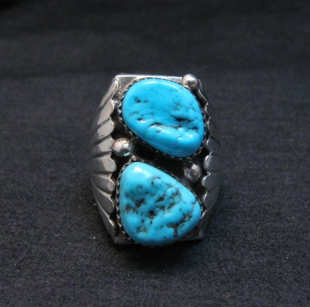 Image 0 of Big Navajo Native American Turquoise Silver Ring Sz9