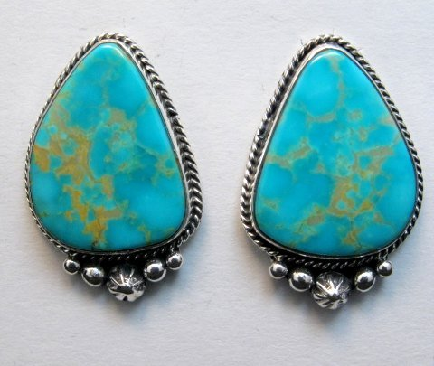 Image 0 of Big Navajo Turquoise Earrings, La Rose Ganadonegro
