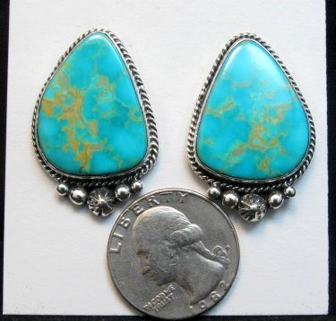 Image 1 of Big Navajo Turquoise Earrings, La Rose Ganadonegro