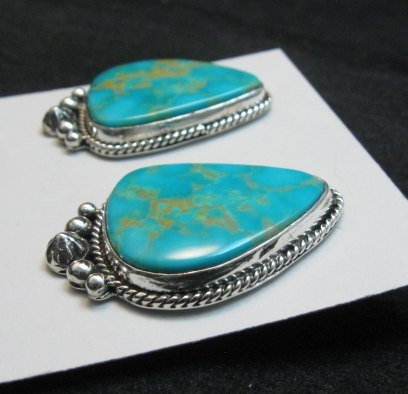 Image 2 of Big Navajo Turquoise Earrings, La Rose Ganadonegro