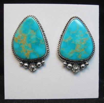 Image 3 of Big Navajo Turquoise Earrings, La Rose Ganadonegro