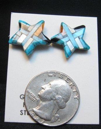 Image 1 of Joe Angie Reano, Santo Domingo Turquoise Inlaid Shell Star Earrings