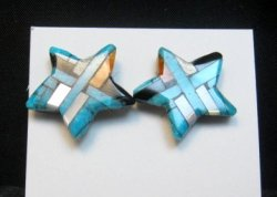 Joe Angie Reano, Santo Domingo Turquoise Inlaid Shell Star Earrings