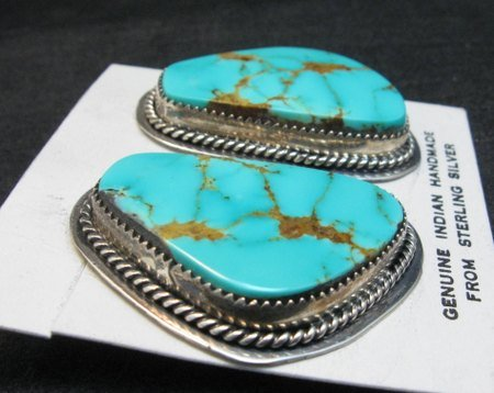 Image 1 of Huge Navajo Kingman Turquoise Earrings, La Rose Ganadonegro