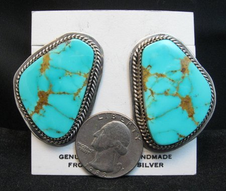 Image 2 of Huge Navajo Kingman Turquoise Earrings, La Rose Ganadonegro