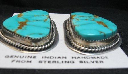 Image 3 of Huge Navajo Kingman Turquoise Earrings, La Rose Ganadonegro