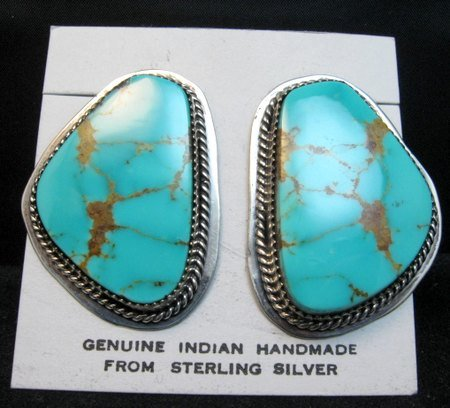 Image 4 of Huge Navajo Kingman Turquoise Earrings, La Rose Ganadonegro