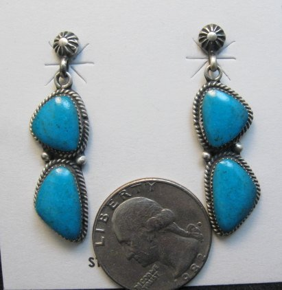 Image 1 of Navajo Double Turquoise Dangle Earrings, Annie Spencer