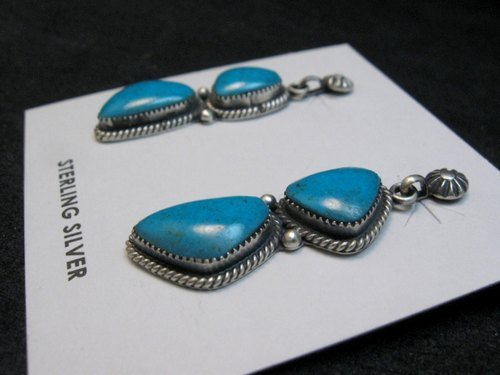 Image 2 of Navajo Double Turquoise Dangle Earrings, Annie Spencer