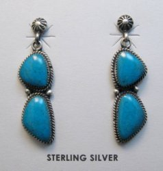 Navajo Double Turquoise Dangle Earrings, Annie Spencer