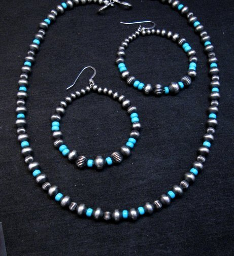 Image 3 of Native American Turquoise and Desert Pearls Earrings