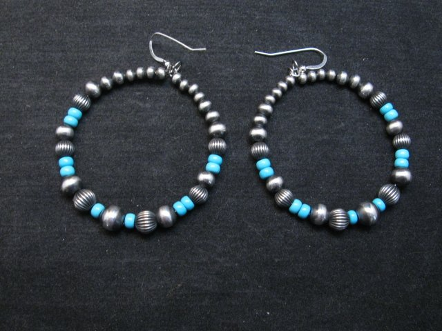 Image 0 of Native American Turquoise and Desert Pearls Earrings