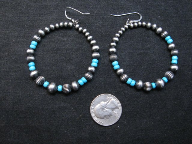 Image 1 of Native American Turquoise and Desert Pearls Earrings