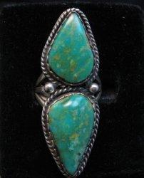 LaRose Ganadonegro Navajo Double Royston Turquoise Ring sz7