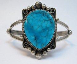 Navajo Rosella Paxson Kingman Turquoise Silver Bracelet