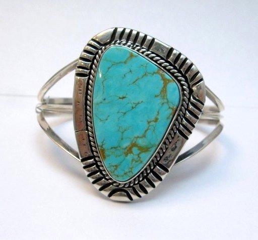 Image 0 of Navajo Native American Kingman Turquoise Silver Bracelet LaRose Ganadonegro