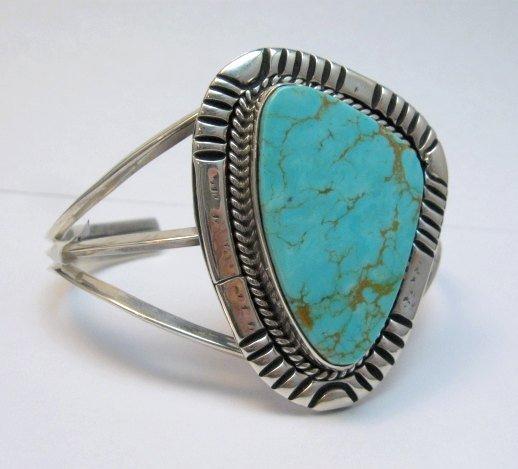 Image 2 of Navajo Native American Kingman Turquoise Silver Bracelet LaRose Ganadonegro