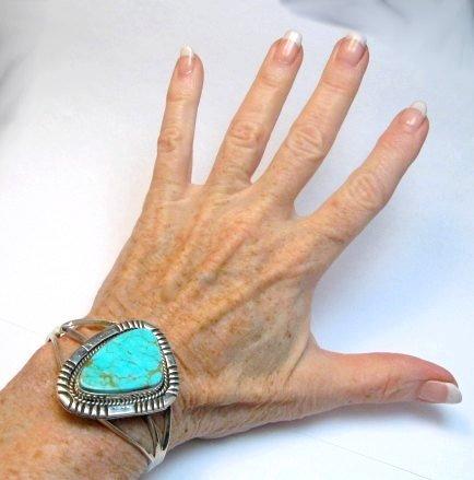 Image 1 of Navajo Native American Kingman Turquoise Silver Bracelet LaRose Ganadonegro