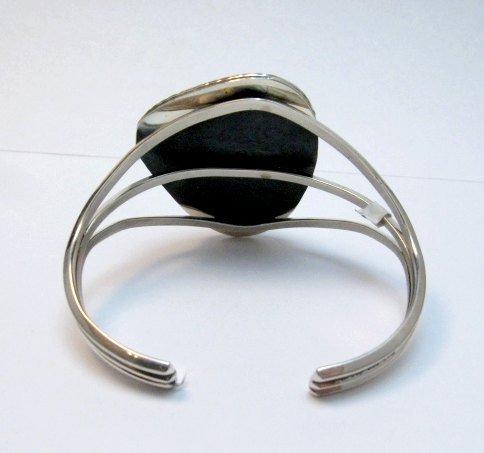 Image 4 of Navajo Native American Kingman Turquoise Silver Bracelet LaRose Ganadonegro