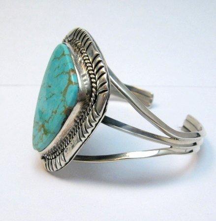 Image 3 of Navajo Native American Kingman Turquoise Silver Bracelet LaRose Ganadonegro