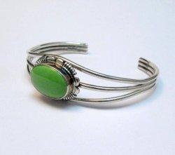 Navajo Native American Gaspeite Sterling Silver Bracelet, Robert Concho
