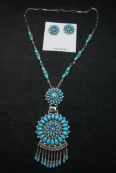 Lorraine Waatsa Zuni Turquoise Cluster Ring sz7-3/4