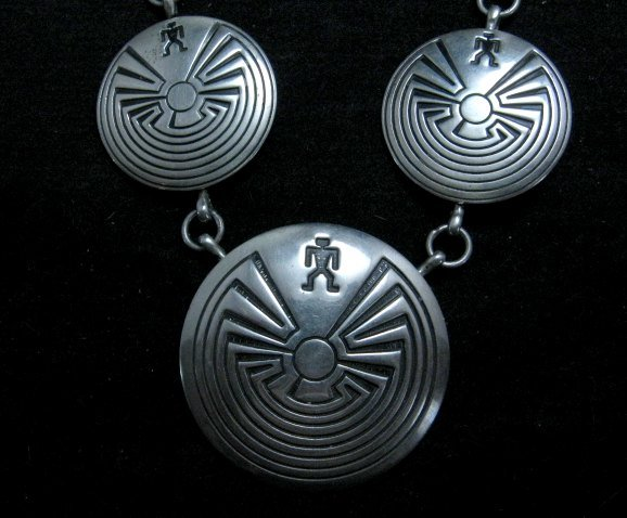 Image 1 of Vintage Navajo Native American Man in the Maze Necklace