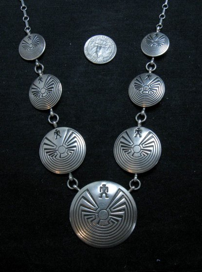 Image 5 of Vintage Navajo Native American Man in the Maze Necklace