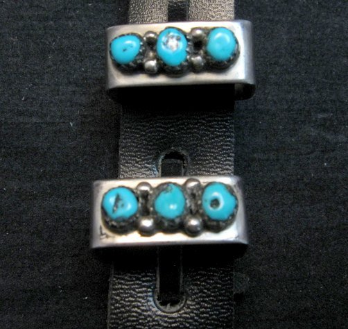 Image 2 of Vintage Navajo 4pc Turquoise Sterling Silver Ranger Buckle Set