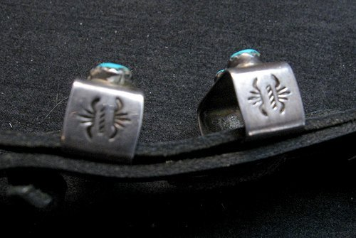 Image 3 of Vintage Navajo 4pc Turquoise Sterling Silver Ranger Buckle Set