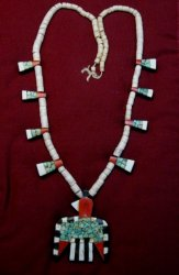 Vintage Santo Domingo Inlaid Thunderbird Depression Necklace