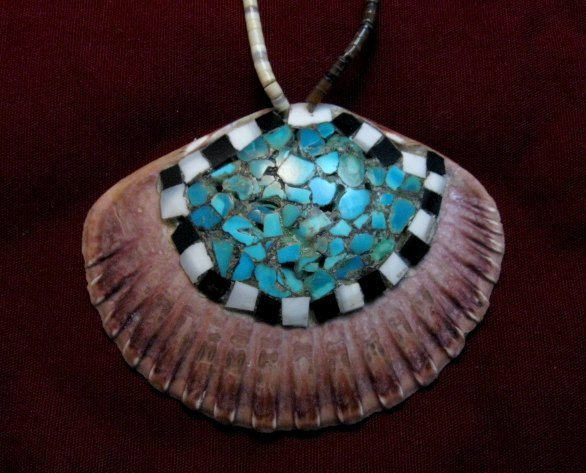 Image 1 of Vintage Santo Domingo Pueblo Turquoise Inlaid Shell Necklace and Earrings