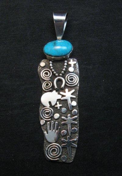 Image 4 of Large Navajo Alex Sanchez Turquoise Silver Maiden Figure Pendant