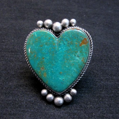Image 0 of Big Navajo Lyle Cadman Turquoise Silver Heart Ring sz7-3/4