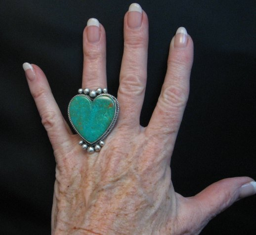 Image 1 of Big Navajo Lyle Cadman Turquoise Silver Heart Ring sz7-3/4