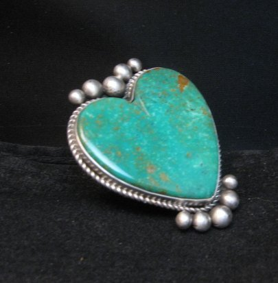 Image 2 of Big Navajo Lyle Cadman Turquoise Silver Heart Ring sz7-3/4