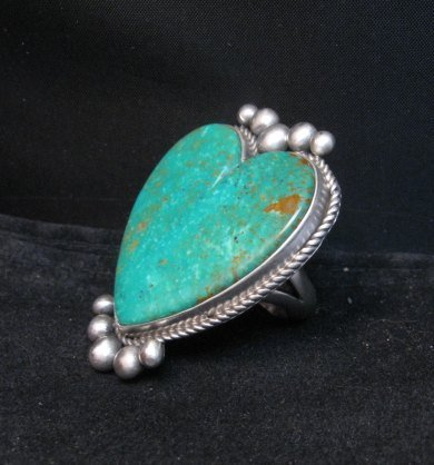 Image 3 of Big Navajo Lyle Cadman Turquoise Silver Heart Ring sz7-3/4