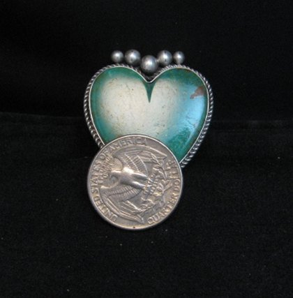 Image 4 of Big Navajo Lyle Cadman Turquoise Silver Heart Ring sz7-3/4