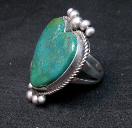 Image 1 of Navajo Lyle Cadman Turquoise Silver Heart Ring sz6-3/4