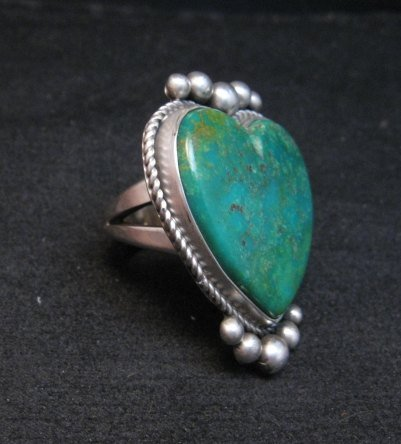 Image 2 of Navajo Lyle Cadman Turquoise Silver Heart Ring sz6-3/4