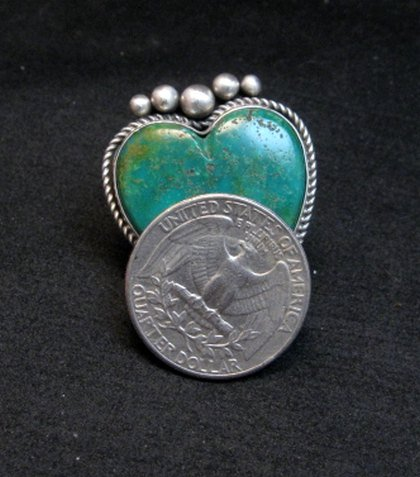 Image 3 of Navajo Lyle Cadman Turquoise Silver Heart Ring sz6-3/4
