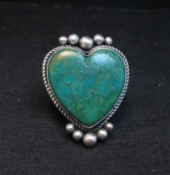 Navajo Lyle Cadman Turquoise Silver Heart Ring sz6-3/4