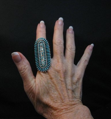 Image 2 of Zuni Shirley Lahi Sleeping Beauty Turquoise Petit Point Cluster Ring sz9-1/4
