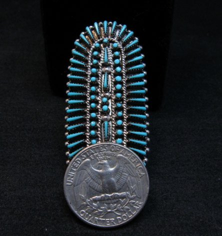 Image 5 of Zuni Shirley Lahi Sleeping Beauty Turquoise Petit Point Cluster Ring sz9-1/4