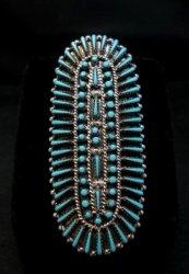Zuni Shirley Lahi Sleeping Beauty Turquoise Petit Point Cluster Ring sz9-1/4